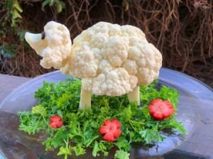 Cauliflower Sheep Centerpiece - cauliflower sheep centerpiece before the feast