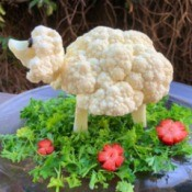 Cauliflower Sheep Centerpiece - cauliflower sheep centerpiece before the feast