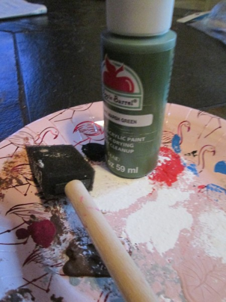Making Accordion Christmas Trees - bottle of paint and foam brush