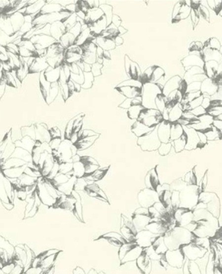 Finding York Wallpaper AB2126 - black and white floral wallpaper