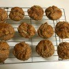 Peanut Butter Banana Muffins cooling on rack