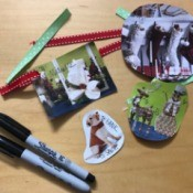 Holiday Gift Tags from Magazines or Catalogs - tags, ribbons, and pens