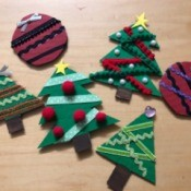 Christmas Decorations from Cardboard - three trees and two red ball ornaments
