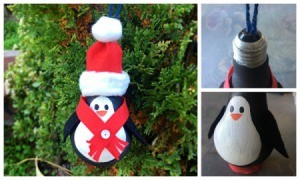 Painted recycled incandescent bulb penguin ornament.