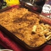 Pasta Casserole in glass baking pan