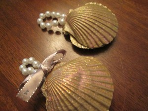 Shabby Chic Shell Ornaments - two shell ornaments, one with a small bow attached