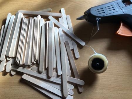 Popsicle Stick Geometric Sculpture - supplies