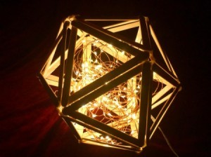 Popsicle Stick Geometric Sculpture - lit with fairy lights