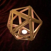 Popsicle Stick Geometric Sculpture - with LED votive in bottom