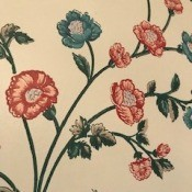 Looking for Waverly Wallpaper from the 1980s - closeup of pink and blue floral paper