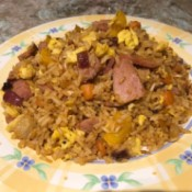 Fried Rice from Leftovers on plate