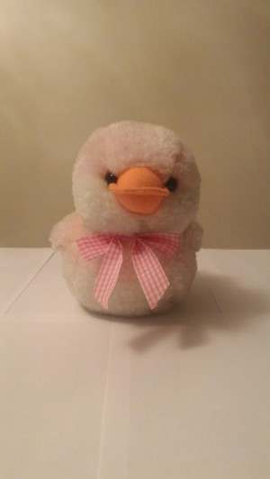 Identifying a Stuffed Toy - stuffed duck with a pink and white plaid bow