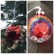 Toddler Safe Christmas Ornaments - ornament with pom poms and one with gem stickers