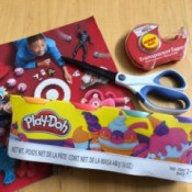Using Toy Catalog Pages as Gift Wrap - supplies