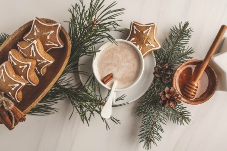 Gingerbread cookies, sprigs of pine and a cup of hot chocolate.