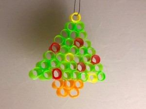 Fused Plastic Straw Ornament - Christmas tree shaped ornament made from fused drinking straw bits