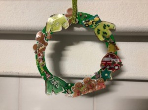 Kids' Cutout Paper Wreath - hanging on wall