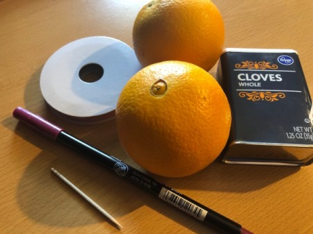 How to Make Orange Clove Pomanders - supplies