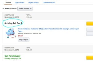 A screenshot of some purchases made online and when they will arrive.