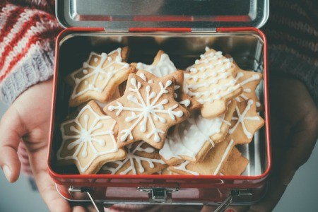 Gingerbread cookies in a tin box.