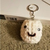 Crochet Marshmallow Key Ring Fob - done