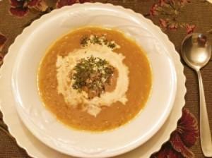 Acorn Squash Soup in bowl