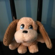 Identifying a Stuffed Toy - small tan, brown, and cream stuffed puppy