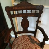Identifying Antique Chairs - ornate, dark wood arm chairs with padded seat