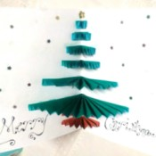 Christmas Tree Pop-up Card -  inside of finished card with greeting added
