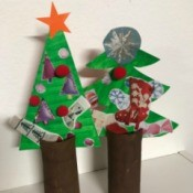 Kids' Christmas Tree Craft - two finished trees