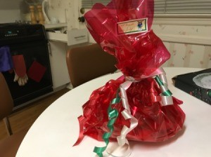 DIY Gift Baskets - wrapped large gift with tag