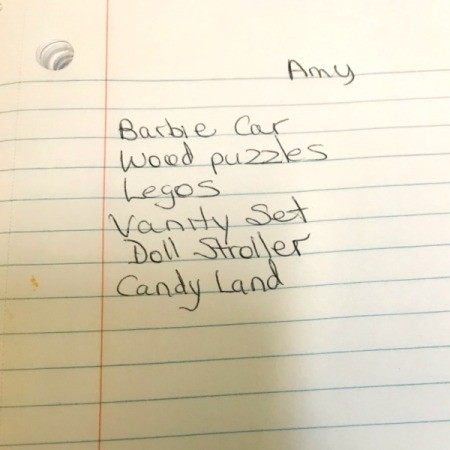 A wish list for a girl named Amy.