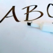Removing Dry Erase Marker on Wood - A B C written on white background