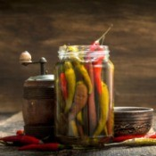 peppers in a canning jar