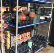 Free Flower Pots at Lowe's Garden Center - shelves with plastic pots