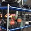 Free Flower Pots at Lowe's Garden Center - shelves with plastic pots