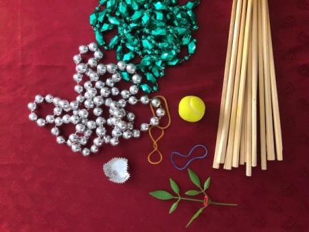 Chopstick and Bead Christmas Tree - supplies
