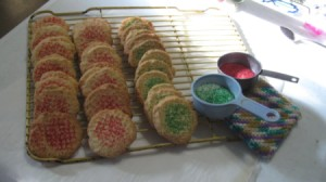decorated cookies on rack