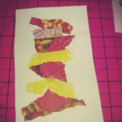 Save Scraps of Colorful Paper for Scrapbook Cards - torn scraps of paper glued to a rectangle of white paper