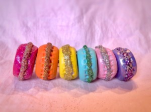 French Macaron Cookie Ornaments - 6 different color cookies