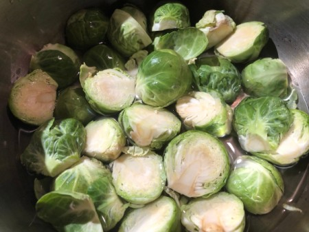 Brussels Sprouts in pan with water