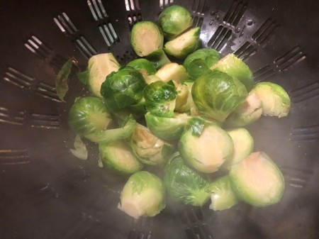 draining  Brussels Sprouts