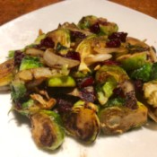 Caramelized Cranberry Brussels Sprouts on plate