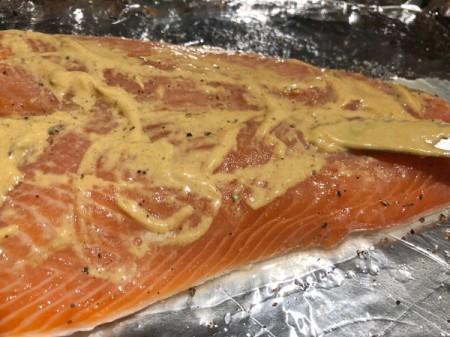 Mustard spread on Salmon