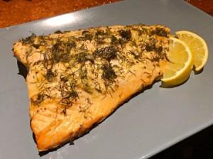 Mustard Dill Salmon on plate