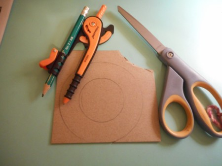 Mini Wreath Ornament - use protractor to draw a circle and then one 1/2 to 3/4 inch smaller on the chipboard