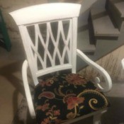 Identifying White Dining Table Chairs - white dining chair with arms and sort of a lattice back