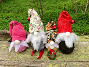 DIY Gnome Dolls - close up of 4 gnomes