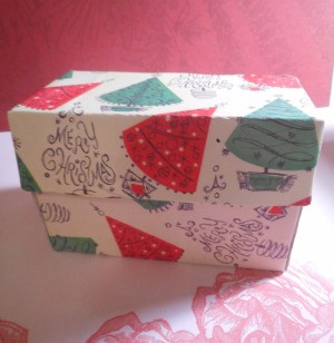 Up-cycled Gift Box - Christmas paper covered tea box, to use as a gift box