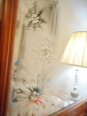 Snowy Window or Mirror - dresser mirror with snowflake designs
